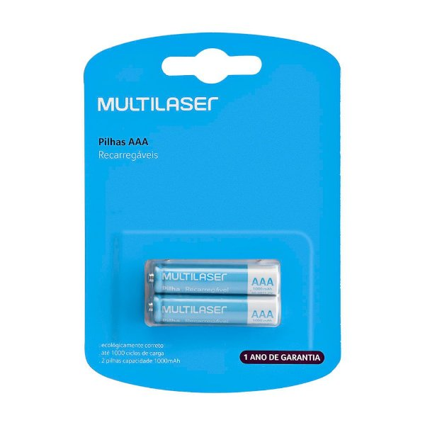 Pilhas Recarregáveis AAA Multilaser 1000Mah CB051