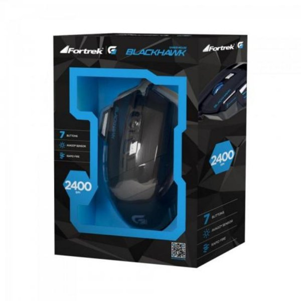 MOUSE GAMER OM703 FORTREK BLACK HAWK C/ FIO PRETO