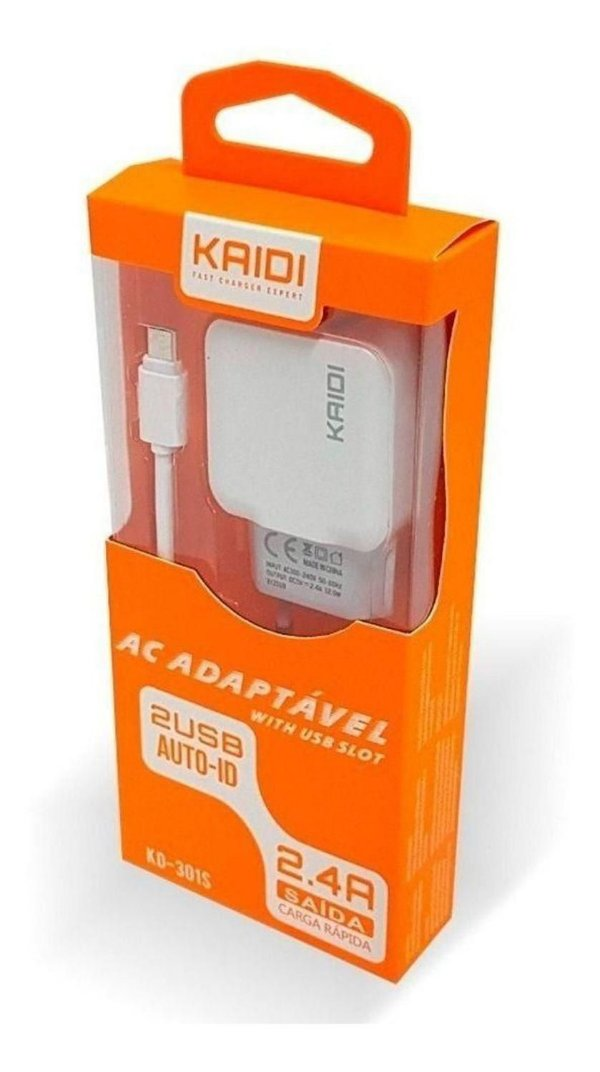 CARREGADOR KAIDI KD-87S MICRO USB V8 2.4A 2 USB