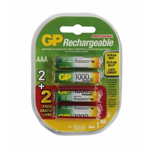 PILHA 3A GP RECARREGAVEL 1000mAh C/ 4