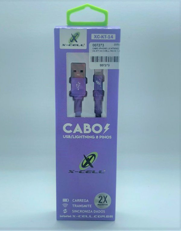 CABO IPHONE LIGHTNING XC-KT-14 X-CELL ROXO 1.2MT
