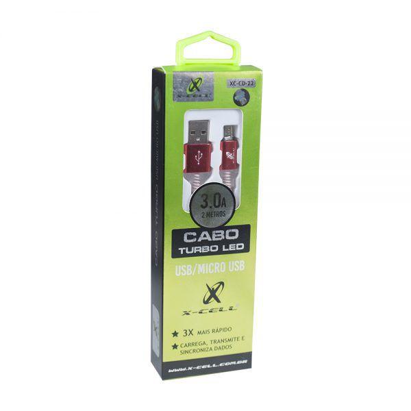CABO MICRO USB V8 XC-CD-22 X-CELL VERMELHO 2MT