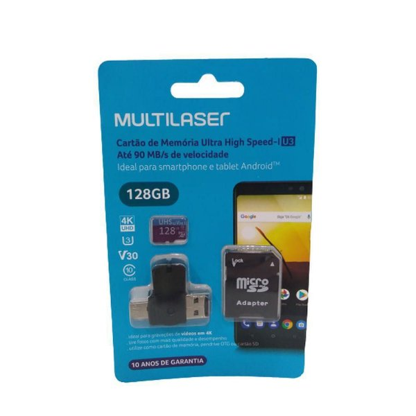 Kit 4em1 Cartão Micro Sd 128GB Multilaser MC153