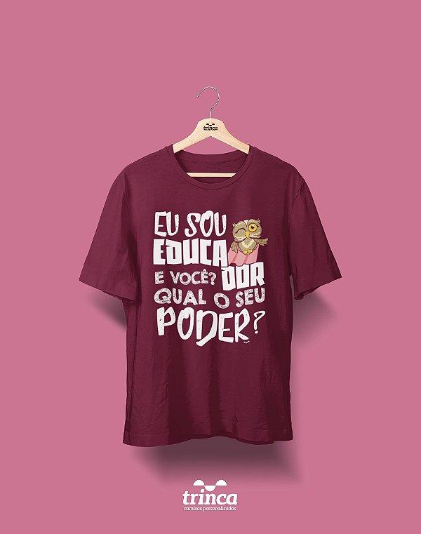 Camisa Pedagogia - Power Teacher - Bordô - Premium