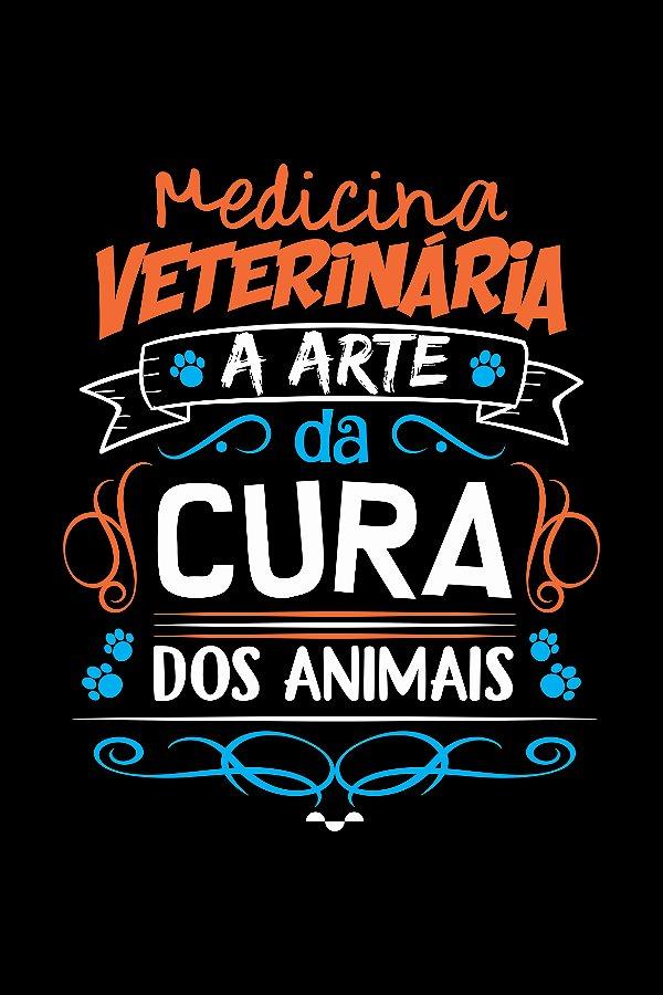 Camisa Universitária Medicina Veterinária - A cura - Preta - Basic