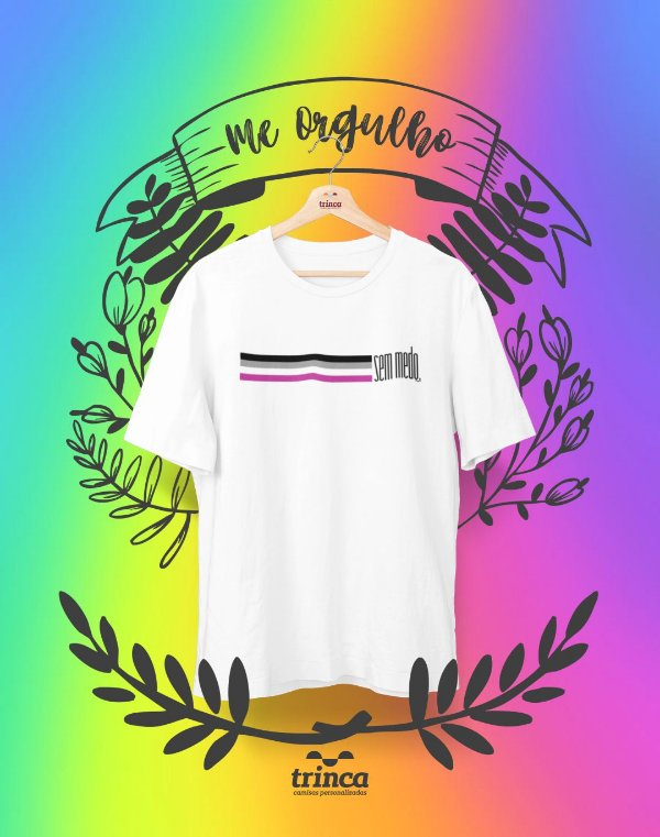 Camiseta Personalizada - Assexuadx Sem Medo - Me Orgulho - Basic