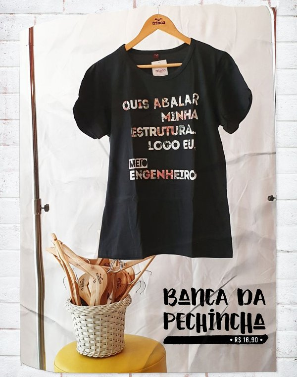 Camiseta Universitária - Engenharia - Meio Engenheiro - Basic