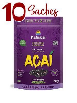 10 saches de 150g Açaí em pó PurAmazon Premium