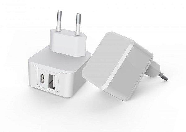 Carregador Universal USB-C + USB – Carga Rápida 3.4A