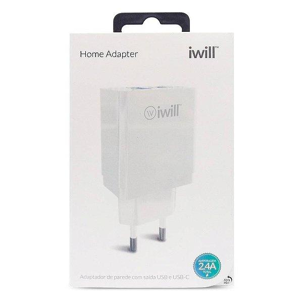 Adaptador de Parede com 1 USB e 1 USB-CiWill