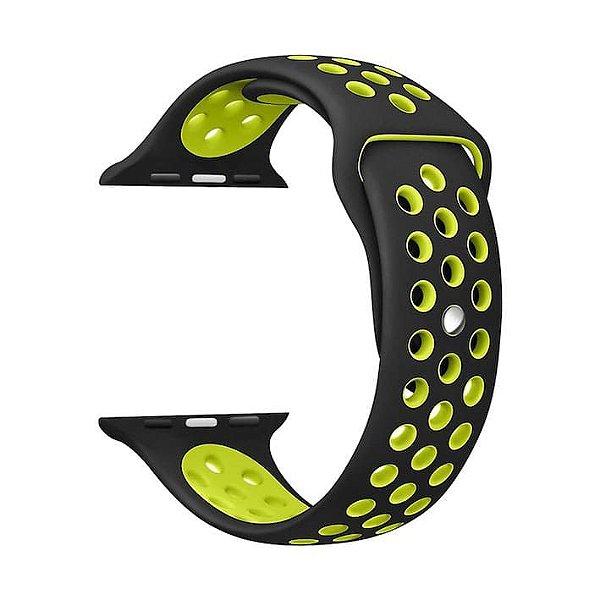 Pulseira para Apple Watch® WatchBand - Silicone Sport Preta com Verde