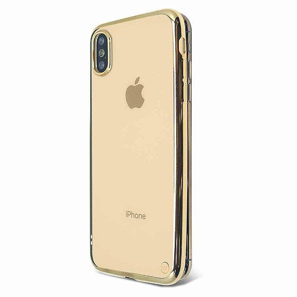 Metallic Shell para iPhone X e XS Dourada - Capa Protetora com Bordas Metalizadas