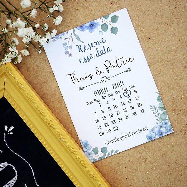 Save The Date Magnético Floral Azul