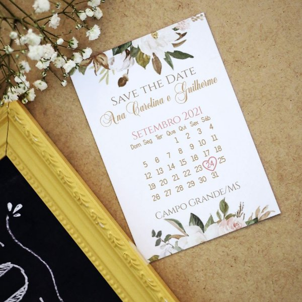 Save The Date Magnético Floral Branco