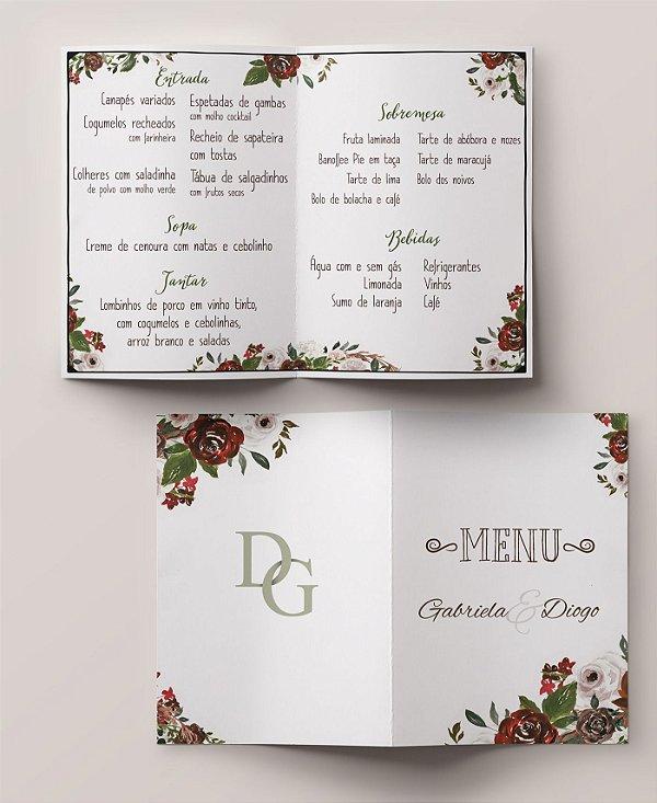 Menu Casamento Floral Marsala