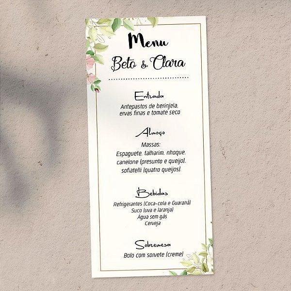 Menu Casamento Floral