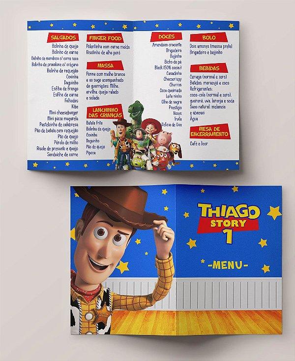 Menu Aniversário Infantil Toy Story