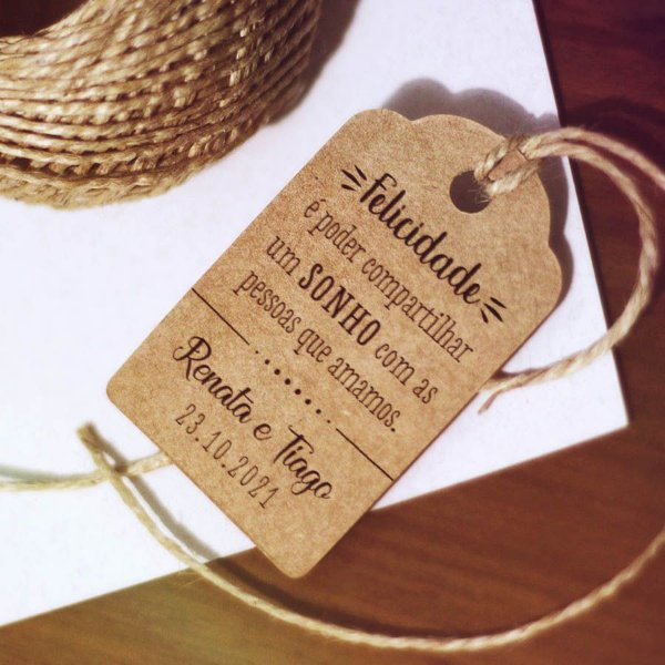 Tag Kraft Tradicional Casamento Frase