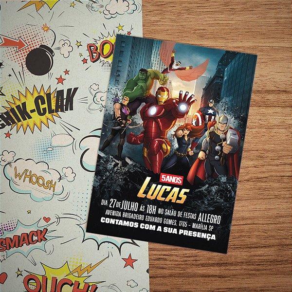 Convite Infantil Super Heróis Vingadores