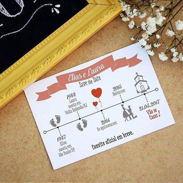 Save the Date Pré Convite Magnético Linha do Tempo