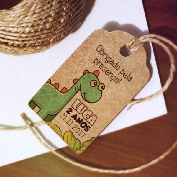 Tag Kraft Infantil Dinossauro Personalizada