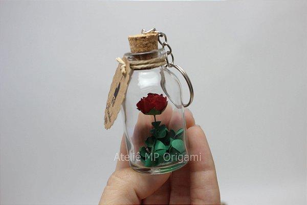 Lembrancinha maternidade flor na garrafinha chaveiro