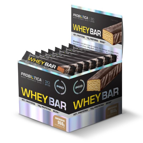 Whey Bar Amendoim - Display c/ 24 un 40g Probiótica