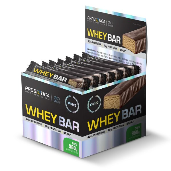 Whey Bar Coco - Display c/ 24 un 40g Probiótica