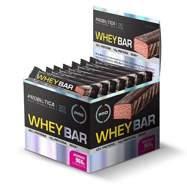 Whey Bar Morango - Display c/ 24 un 40 g Probiótica