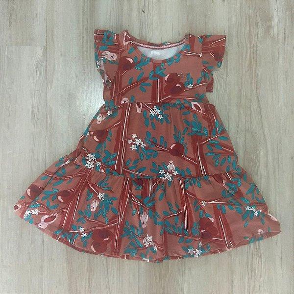 03b97a4a2a Vestido Infantil Manga Curta Passaros - Puc - Roupa infantil e roupa ...