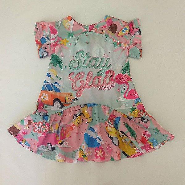 55fe3037b0 Vestido Infantil Manga Curta Flamingo - Mon Sucre - Roupa infantil e ...