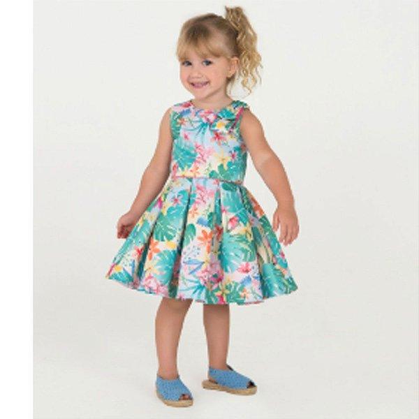 6352899818 Vestido Infantil De Festa - Mon Sucre - Sem Manga Estampado Flores ...