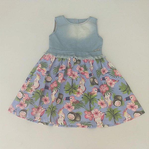 7ef582f5d9 Vestido Infantil Sem Manga Passaros - Momi - Roupa infantil e roupa ...