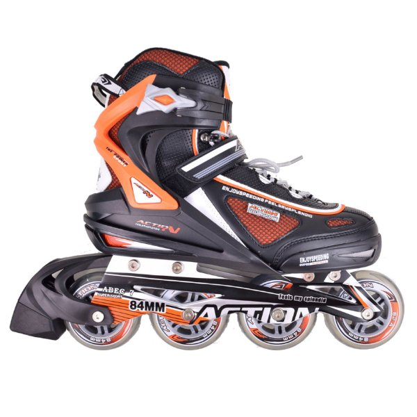 Patins Action Power Preto Laranja