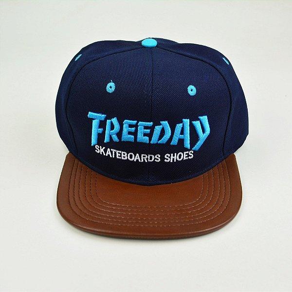 Boné Freeday Strapback Azul Marrom