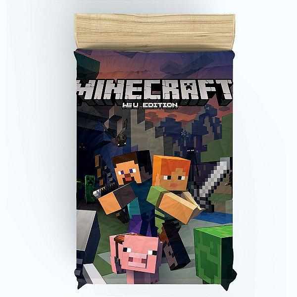 Lençol para Cama de Solteiro do Minecraft com Elástico