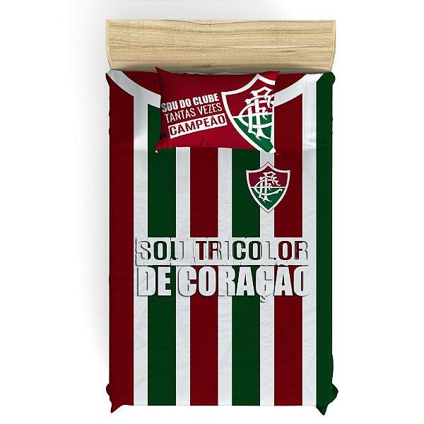 Lençol de Elástico do Fluminense para Cama de Solteiro com 1 Fronha