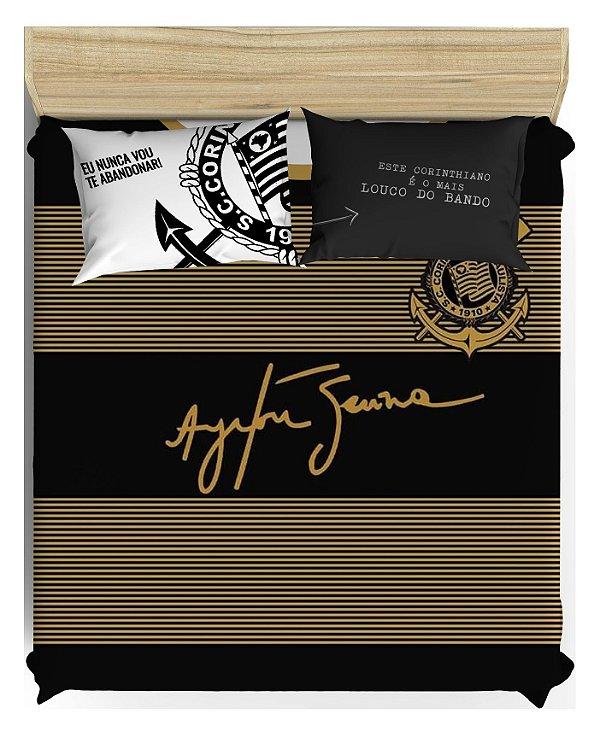 Lençol de Elástico + Colcha de Casal + 2 Fronhas Personalizadas - Corinthians para Cama de Viúvo