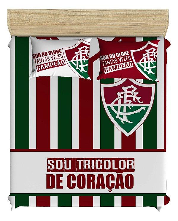 Jogo de Cama do Fluminense para Cama De Casal. Acompanha 2 fronhas