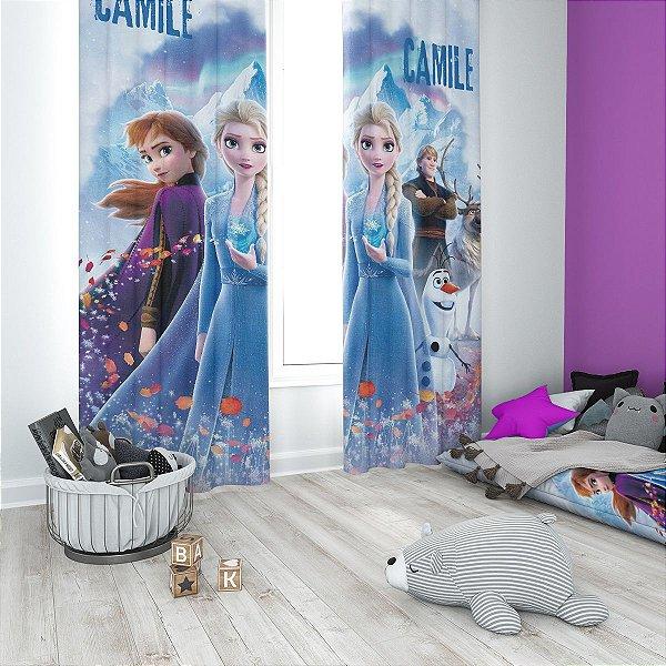 Cortina Blecaute da Frozen 2 - Personalizada com Nome - 1,40m Largura x 1,80m Comprimento
