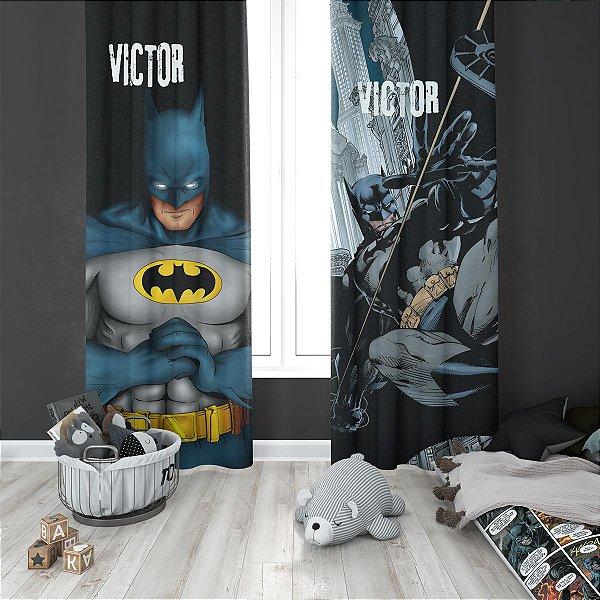 Cortina Blecaute do Batman para Quarto de Criança - Personalizada com Nome - 1,40m L x 1,80m C