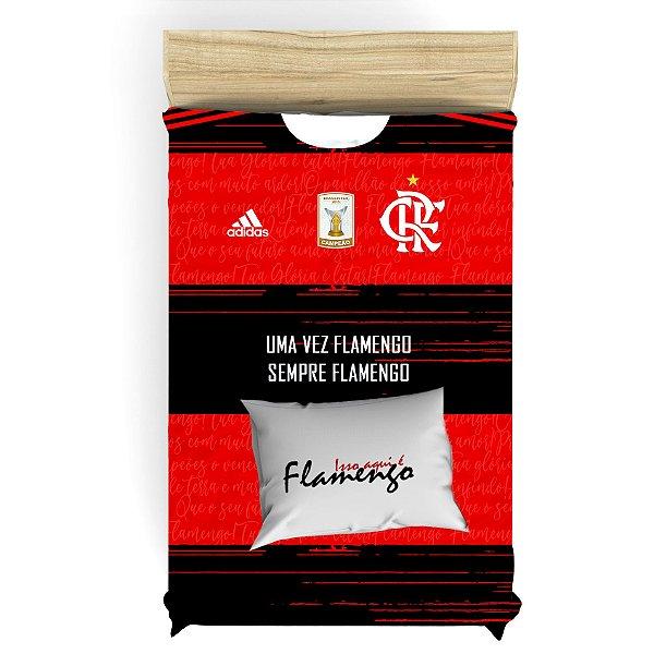 Jogo de Cama Camisa do Flamengo Solteiro + Fronha Solteiro
