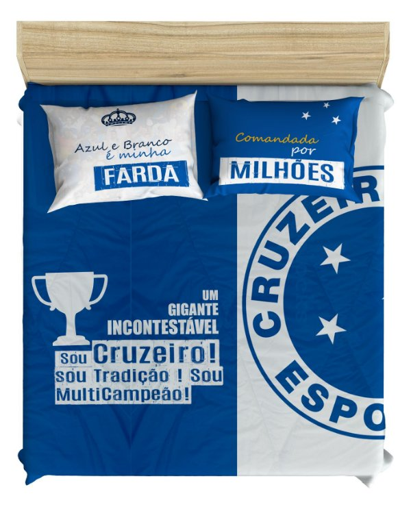 Jogo de Cama do Cruzeiro para Cama de Casal - 3 Peças