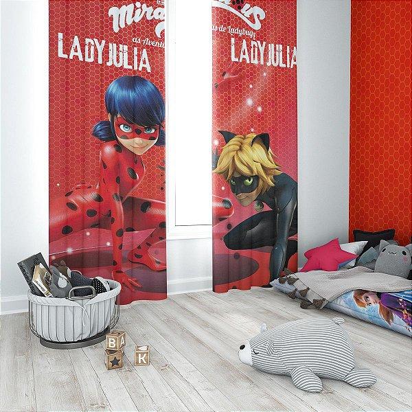 Cortina Blecaute Ladybug - Personalizada com Nome - 1,40m Largura x 1,80m Comprimento
