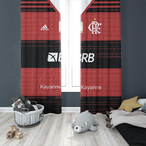 Kit Cortina + Colcha de Casal + Fronha e Tapete do Novo Uniforme do Flamengo