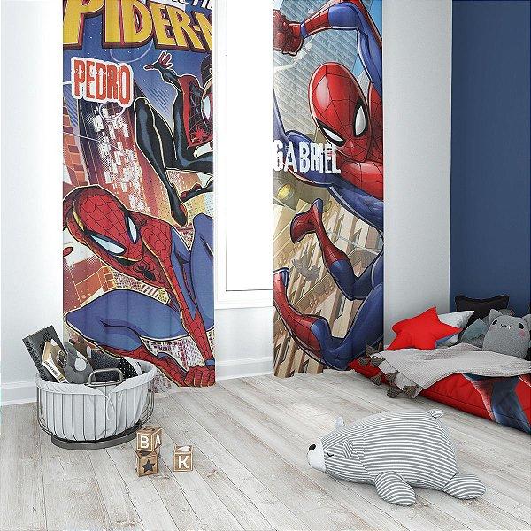 Cortina Blecaute do Homem Aranha - Personalizada com Nome - 1,60m L x 1,80m C