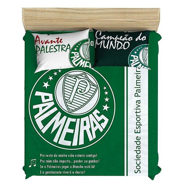 Colcha do Palmeiras com Forro Especial Matelado + 2 Fronhas