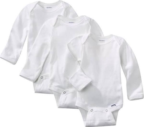 Kit Body Bebê Liso Manga Longa - 3 peças Branco