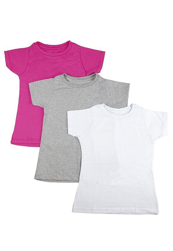 Kit Blusa Infantil Menina Básica - 3 pçs Pink
