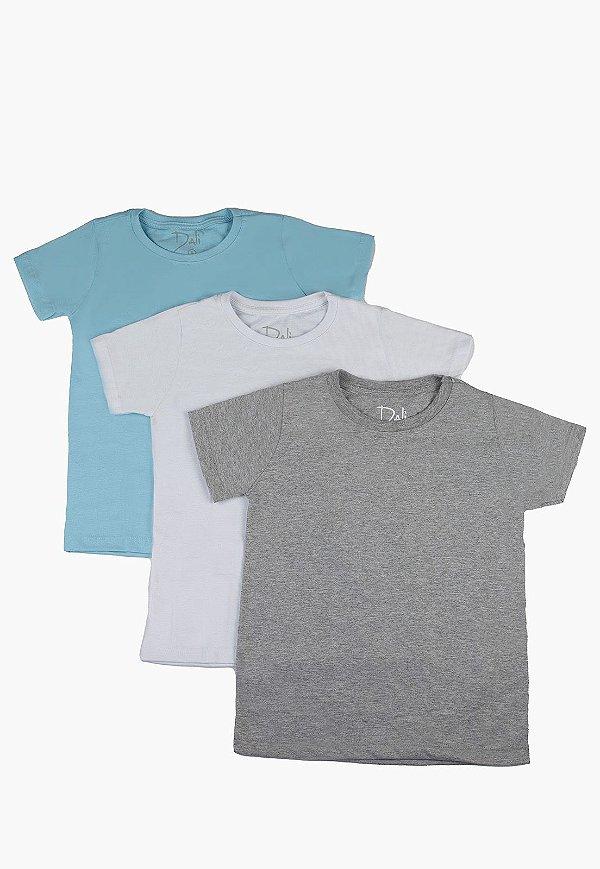 Kit Camiseta Infantil Menino Básico - 3 pçs Azul Claro